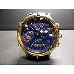 Eberhard Large Clock Croisier Chrono 32024Breaker Steel quandrante Blue Leather Strap