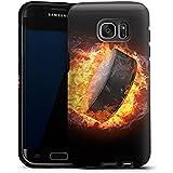 Samsung Galaxy S7 Edge Housse Outdoor Étui militaire Coque Hockey sur glace Flammes Palet enflammé
