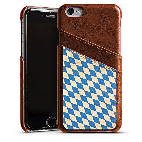 Apple iPhone 5s Housse Étui Protection Coque Bavière Drapeau Bavière Étui en cuir marron