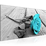 Bilder Blumen Rose Wandbild Vlies - Leinwand Bild XXL Format Wandbilder Wohnzimmer Wohnung Deko Kunstdrucke Türkis 1 Teilig - MADE IN GERMANY - Fertig zum Aufhängen 204412c