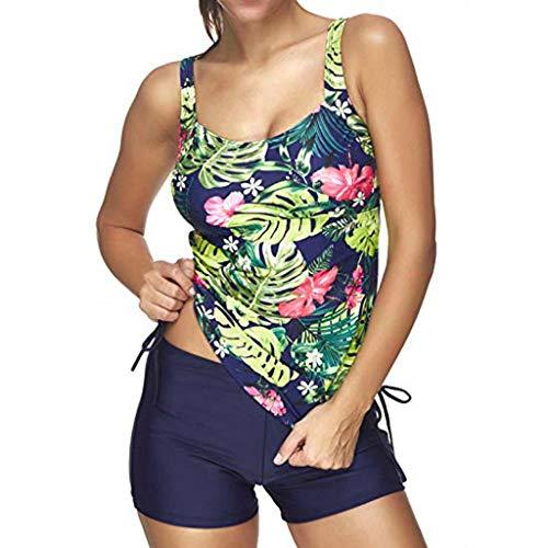 kingko® Damen 2 Piece Tankini Set Strap Print Badeanzug Tank Top Bikini Swimsuits mit Short Bikini Top Set Rückenfrei Große Größen Oberteil mit Shorts (M, Blau)