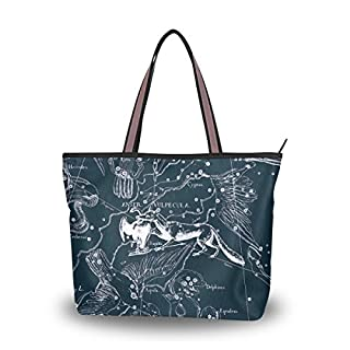 JSTEL Extra Large Handbags for Women,Fantasy Constellation Grap Vulpecula Anser Sagitta,Fashion Design Ladies Shoulder Tote Bag