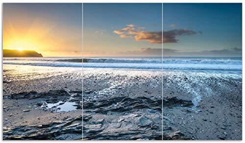 Englands Herd (Wallario Herdabdeckplatte/Spritzschutz aus Glas, 3-teilig, 90x52cm, für Ceran- und Induktionsherde, Einsamer Strand in Cornwall England)