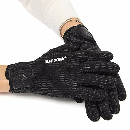 MaMaison007 1,5 mm dedo completo neopreno buceo buceo pesca guantes Unisex con textura Palmas guantes - negro S