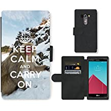 PU Cuir Flip Etui Portefeuille Coque Case Cover véritable Leather Housse Couvrir Couverture Fermeture Magnetique Silicone Support Carte Slots Protection Shell // Q01015493 keep calm and carry on 740 // LG G4 H815