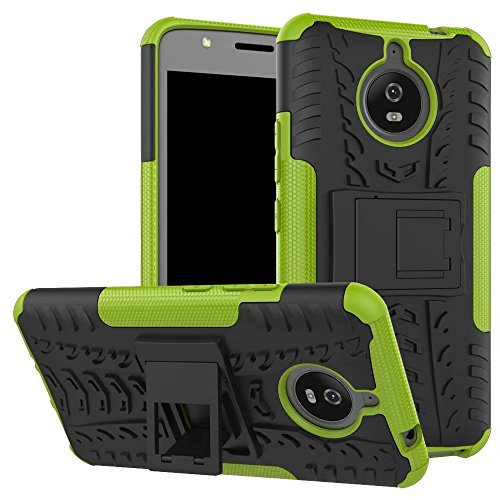 YHUISEN Hyun Pattern Dual Layer Hybrid Armor Kickstand 2 In 1 Shockproof Case Cover für Motorola Moto E4 Plus (Europäische Version) ( Color : White ) Green