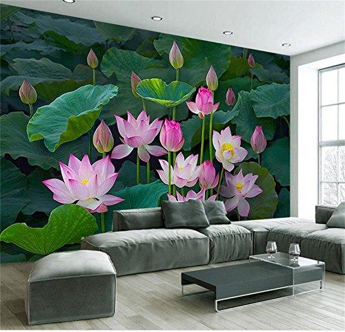 Abihua Wandbilder Benutzerdefinierte 3D Foto Tapete Wohnzimmer Wandbild Lotus Blume See Fotografie Malerei Tv Hintergrundbild Für Die Wand 3D 250Cm X 160Cm