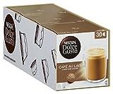 Nescafé Dolce Gusto Café au Lait, XXL-Vorratsbox, Kaffeekapseln, 100% Arabica Bohnen, leichter Kaffeegenuss mit Cremigem Milchschaum, Vorratsbox, 3er Pack Großpackung (3 x 30 Kapseln)