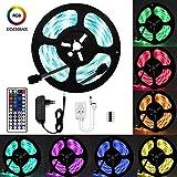 Wlife LED Strip,5m RGB Streifen 150 LED SMD 5050 IP65 Wasserdicht, 16 Farben Strips, einschließlich 44-Tasten Fernbedienung, 12V 3A DC-Netzteil, selbstklebend Lichtband