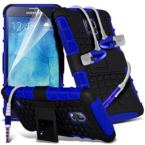 Samsung Galaxy S5 Neo hülle Tasche (Grün + Kopfhörer) Slim-Fit-Abdeckung für Samsung-Galaxie-S5 Neo-hülle Tasche Haltbarer S Linie Wellen-Gel-Kasten-Haut-Abdeckung + mit Aluminium Earbud Kopfhörer, Po Shock proof + Earphone (Blue)