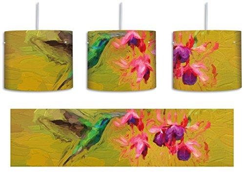 Grüner Kolibri trinkt vom Blütennektar Kunst Pinsel Effekt inkl. Lampenfassung E27, Lampe mit Motivdruck, tolle Deckenlampe, Hängelampe, Pendelleuchte - Durchmesser 30cm - Dekoration mit Licht ideal für Wohnzimmer, Kinderzimmer, (Flügel Feder Exotische)