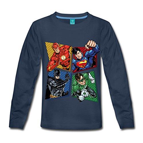 Spreadshirt DC Comics Justice League Superhelden Kinder Premium Langarmshirt, 122/128 (6 Jahre), Navy