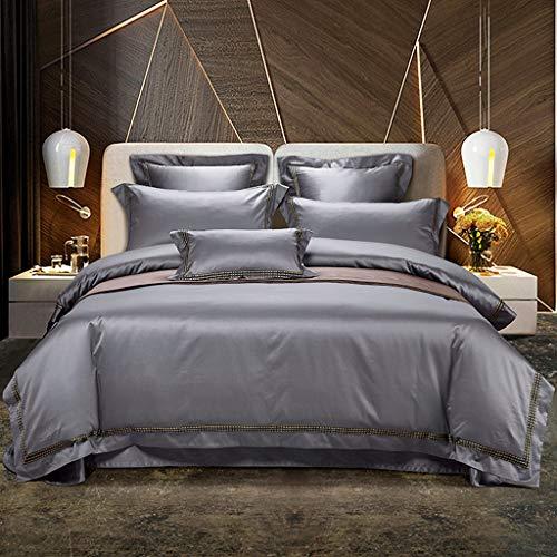 XULIM Bettwäschesatz von Vier 4 Stück Premium ägyptischer Baumwolle grau Bettwäsche Set Größe Bettlaken Spannbetttuch Bettbezug Kissenbezüge, groß, 200 * 230 cm