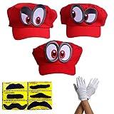 Super Mario Odyssey 3X Mütze - Set mit 3X Handschuhen und 6X Klebe-Bart - Kostüm für Erwachsene & Kinder - perfekt für Fasching, Karneval & Cosplay