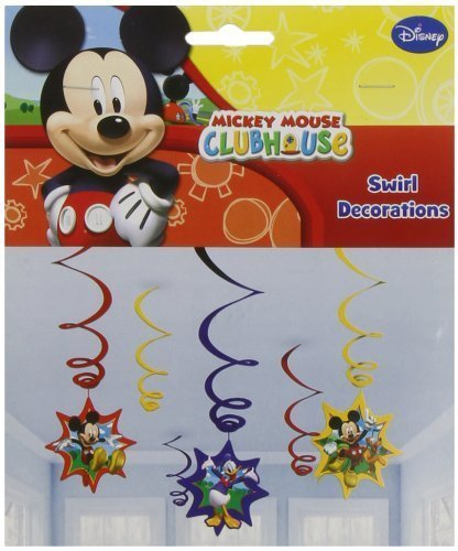 Image of Mickey Mouse Party Hanging Swirl Decorations x 6