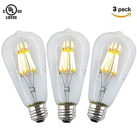 Da Jia Inc 8W LED Dimmable Filament Vintage Edison Light Bulb 80W Incandescent Bulb Equivalent 2700K 640LM E27