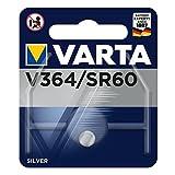 VARTA V364, Sr60, SR621SWN, SR621, 364F, 364, 364101111, Batteria a Bottone, Ossido D'Argento, 1,55 Volts, 20mAh, Diametro 6,8 mm, Altezza 2,15 mm, Confezione 10 pilas