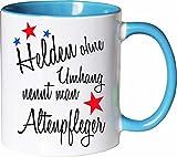 Mister Merchandise Becher Tasse Helden Ohne Umhang Nennt Man Altenpfleger Kaffee Kaffeetasse liebevoll Bedruckt Beruf Job Geschenk Weiß-Hellblau