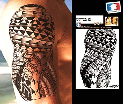 Tattoo id - tatuaggio tribale polinesiano/maori, temporaneo, ipoallergenico, 1 foglio formato xxl, 22 x 14,5 cm, prodotto in francia, unisex