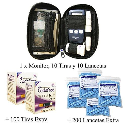 SD Codefree - Estuche que contiene Monitor de Glucosa, 10 Tiras y 10 Lancetas - Más 100 Tiras y 200 Lancetas Adicionales