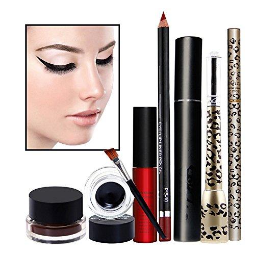 Hifina 6Pcs kit de maquillage complet avec 2 couleurs Eyeliner Gel, rouge à lèvres liquide, crayon à lèvres, Liquid Eyeliner, crayon à sourcils, Mascara