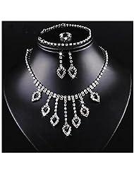 GYJUN Bijoux 1 Collier / 1 Paire de Boucles d'Oreille / 1 Bracelet / Anneaux Strass / Imitation Ruby Mariage / Soirée / QuotidienAlliage /