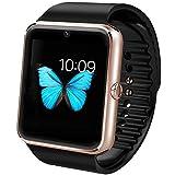 Willful Universal NFC Bluetooth Smart Watch Phone Sport Armband Fitness Uhr mit Slot für SIM Karte Kamera Musik-Player und video für Samsung SONY LG HUAWEI Sport Running Outdoor, Herren Jungen Kinder damen uni, gold