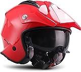 Soxon SR-400 Mono 'Red' · Jet-Helm · Motorrad-Helm Roller-Helm Scooter-Helm Bobber Mofa-Helm...