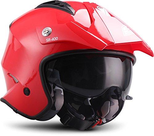 SOXON Casco Moto, Rosso, Taglia S (55-56 cm)
