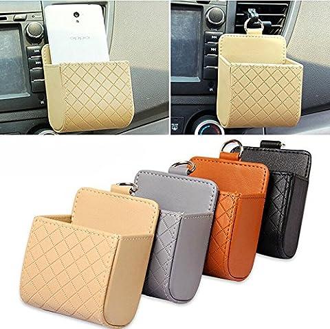 Car Outlet Bucket PU Leather Storage Bag Phone Pocket Organizer Debris Catcher Box Multi-function Auto Storage Bag (Brown)