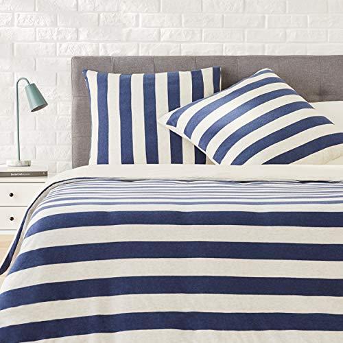 AmazonBasics Parure de lit en jersey, larges rayures - 200 x 200 cm / 65 x 65 cm, Bleu marine