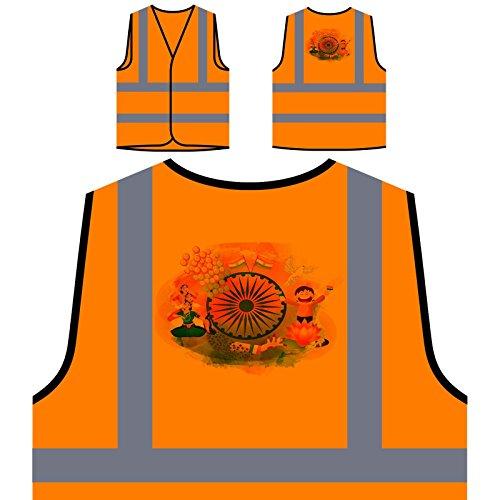 Indien Künstler Neuheit Lustig Personalisierte High Visibility Orange Sicherheitsjacke Weste b177vo
