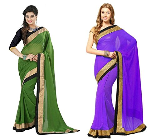 Aashi Saree Exclusive Combo Of Plain Chiffon Golden Black Border Sarees (Green & Purple)