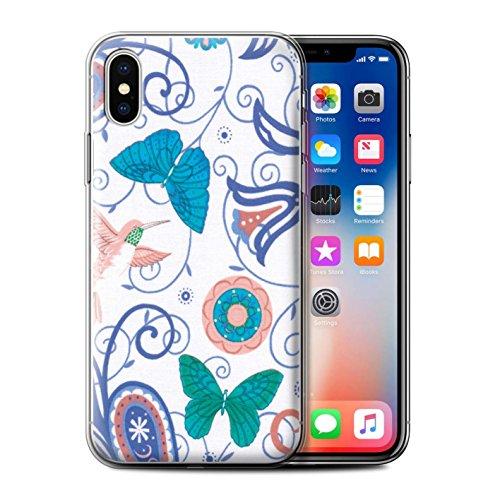 Stuff4 Gel TPU Hülle / Case für Apple iPhone X/10 / Rosa/Rot Muster / Frühlingszeit Kollektion Blau/Weiß