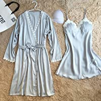 PPOJAS Schlafanzug Frauen Robe & Kleid Sets Lace Floral Padded Bademantel + Nachthemd Zwei Stücke Langarm Homewear Set Pyjamas