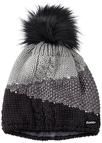 Damen Mütze (Eisbär Damen Eden Lux Crystal Mütze, schwarz/anthrazit/Graumele, One Size)