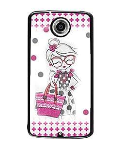Fuson Shopping Girl Back Case Cover for MOTOROLA GOOGLE NEXUS 6 - D3927