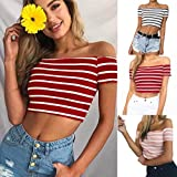 Search : Morwind Summer Top For Women, Women Ladies Off Shoulder Short Sleeve Striped Blouse Tops Clothes T Shirt, Crop Top For Women, Short Sleeve Striped Crop Top