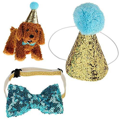 Premium Qualität Haustier Hund Katze Geburtstag Caps Bowknot elastische Blingbling Party Kostüm Hut Kostüm Headwear, blau Vektenxi