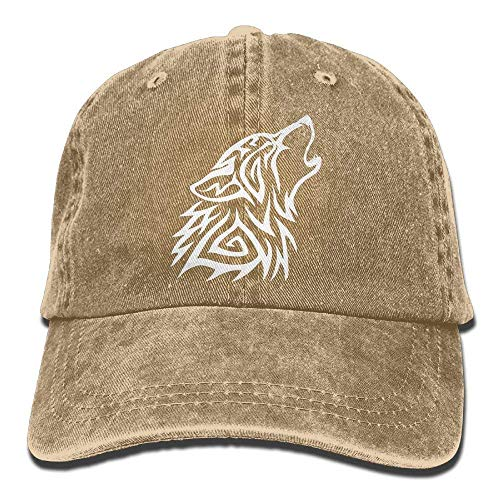 all Cap Hat Tribal Wolf Howl Cotton Denim Dad Hat for Women Trucker Cap ()