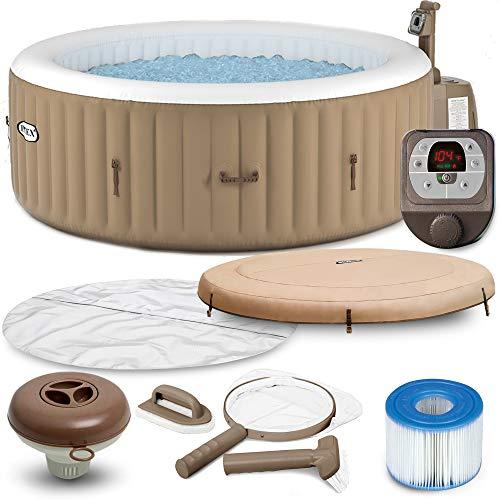 Intex Whirlpool Pure SPA 28428 Bubble Massage Therapy für 6 Personen Kalkschutz Komplett-Set mit Extra-Zubehör wie: Reinigungsset, Kopfstütze und Getränkehalter