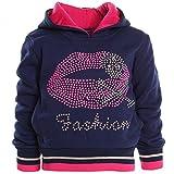 Winter Pullover Kapuzenpullover Mädchen Hoodie Hoody Kinder Sweatjacke H2566, Farbe:Blau;Größe:116