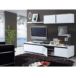 13casa - Mueble de comedor moderno, color Blanco y Ceniza, medidas 43 x 200 x 41 cm de fondo