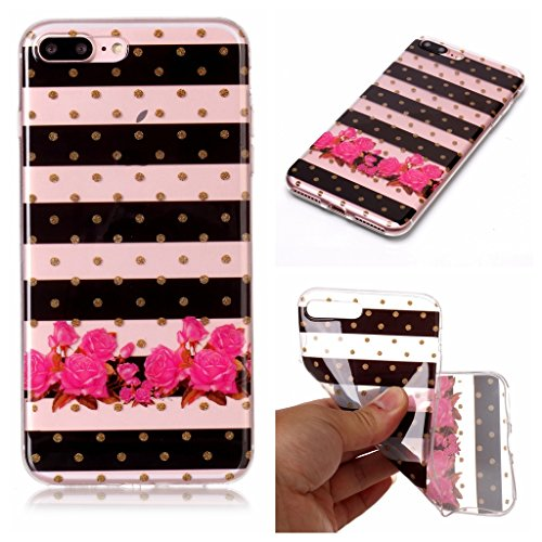 Custodia per iPhone 8 Plus, Custodia per iPhone 7 Plus ,JIENI Trasparente Protezione Morbido Art Datura fiori TPU Bumper Cover Silicone Flessibile Case per iPhone 8 Plus et iPhone 7 Plus XS69