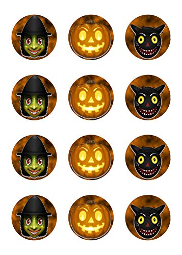 kes Muffins Halloween Zuckerpapier Hexe Kürbis Katze HW25 ()