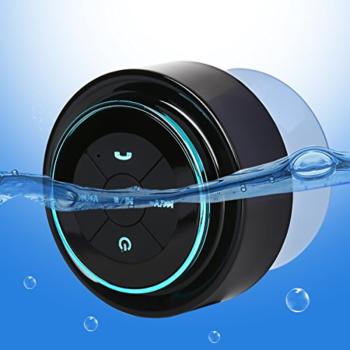 Guzack Altavoz Bluetooth Ducha Impermeable, Waterproof Bluetooth 3.0 Speaker with FM Radio, Copa de succión dedicada, Mic incorporado, Hands-Free Speakerphone Para HuaWei, XiaoMi, Nexus, HTC, iPhone y iPad, etc. (Negro + Azul)