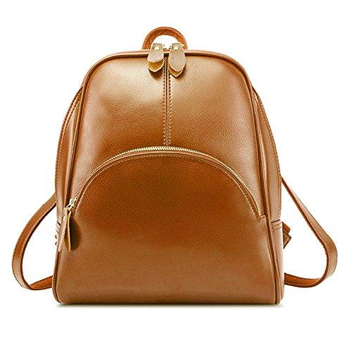 f15846d9f671a Zicac Damen Vintage-Stil Rucksack Umhängetasche Braun. Obermaterial   Anderes Leder