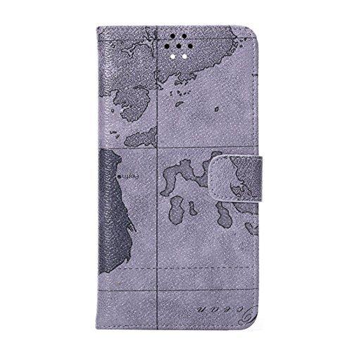 [A4E] Handyhülle passend für Apple iPhone 6 (4,7 Zoll), Kunstleder Hülle Case Zubehör Schutzhülle Tasche, Standfuß Funktion, mit Landkarte Weltkarte Karten Muster (beige, braun) grau/schwarz