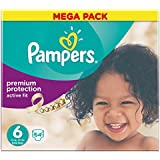 Pampers Active Fit Nappies Mega Box, Size 6 (Extra Large) - 64 Nappies