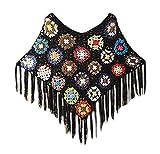 Umhang Damen Elegant Vintage Dünn Gehäkelte Blumen Hollow Pareo Sommer Classic Kleidung Casual Locker Mit Quaste Poncho Top Tunika